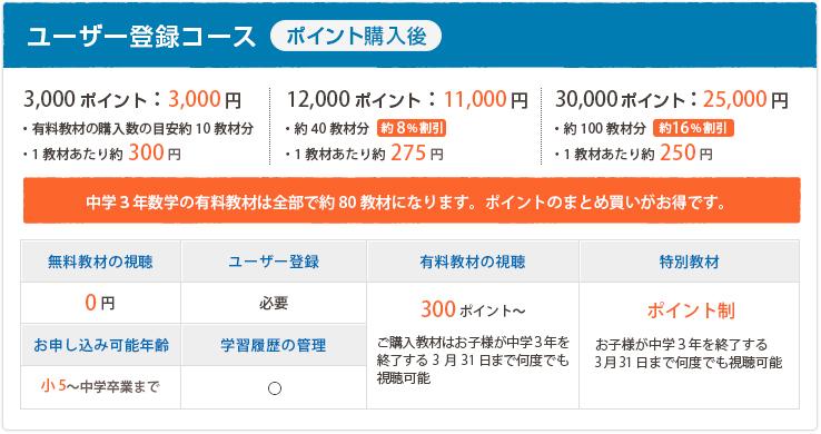 ユーザー登録コース(ポイント購入後)